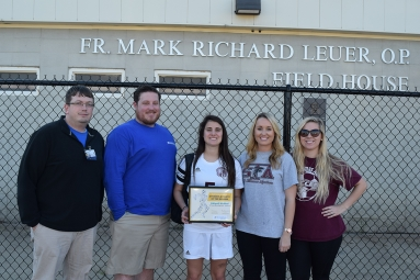 Sports Medicine Athletic Trainer Jeremy Kulbeth and Supervisor Nate Borget, Abigail McNeal, Soccer Coaches Courtney Palisi and Gabrielle Cox